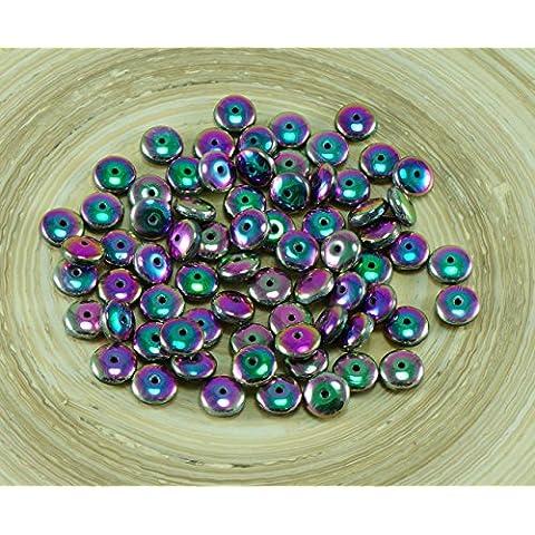 60pcs Viola Verde Iris Arcobaleno ceca Disco di Vetro Perle Solo Disco Piatto Distanziatore Foro 6mm