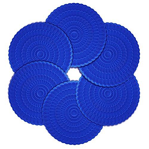 Gläser Hitzerbeständig Coster Silikon Durchmesser 10.16 cm Schmuck und Schutz für die Gläser oder Tee Cups (Set von 6) Blau ()