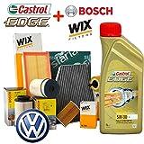 Kit Tagliando aceite Castrol Edge 5W305lt 4filtros Varios de Cui 2filtros Wix, filtro combustible Bosch y Abitacolo siaria (wl7296, 1457070007o 1457070013, wa6781, v3683) Motores BKC