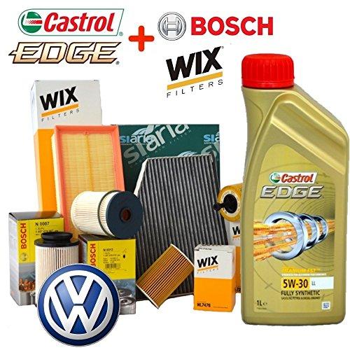 Preisvergleich Produktbild Inspektionskit Öl Castrol EDGE 5 W30 5LT 4 Filter verschiedenen von denen 2 Filter Wix, Kraftstofffilter BOSCH und Innenraumfilter siaria (WL7296, 14570700007 oder 1457070013, WA6781, V3683)