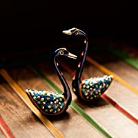 ExclusiveLane Meenakari Royal Blue Swan Set Handenamelled in Metal -Showpieces Curios Home Decorative Item