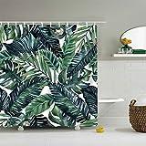 Nibesser Pflanzen Blätter Duschvorhang Anti-Schimmel Bad Vorhang Wasserdicht Badewannenvorhang Waschbarer Textil 180 * 180cm Grün (#4)