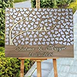 Personalized 3D Love Tree Wedding Guest Book Alternative - Custom Couples Name and Wedding Date - Unique Wooden Guestbooks Hearts Leaves Wedding Tree Of Life