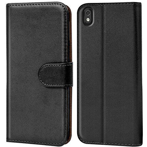 Verco Desire Eye Hülle, Handyhülle für HTC Desire Eye Tasche PU Leder Flip Case Brieftasche - Schwarz