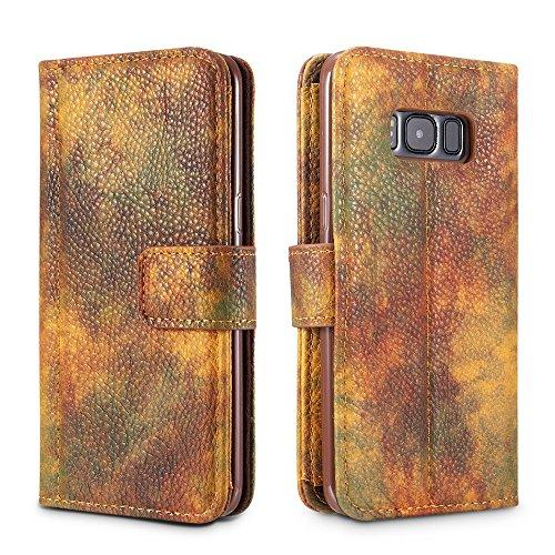 EKINHUI Case Cover Wald Serie Bunte Paiting Litchi Textur Premium PU Leder Horizontale Flip Stand Brieftasche Case Cover mit Card Slots für Samsung Galaxy S8 Plus ( Color : Violet ) Yellow