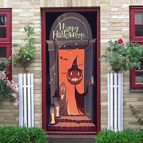 Lrjdet halloween geist orange nacht kreative fledermaus aufkleber cartoon tiere dekoration vinyl wandtür aufkleber cartoon effekt 77x200 cm