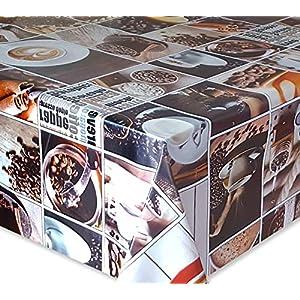 Wachstuch Tischdecke, Gartentischdecke, Eckig Rund Oval, Motiv u. Größe wählbar, (Kaffee Ecke, Eckig 130x200)