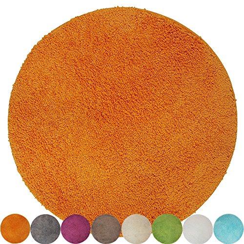proheim Badematte rutschfester Badvorleger Premium Badteppich 1200 g/m² weich & kuschelig Hochflor, Farbe:Orange, Produkt:Ø 60 cm Rund