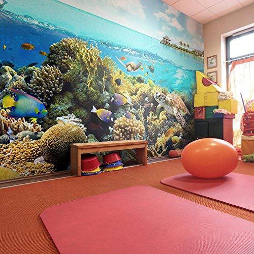 decomonkey | Fototapete Aquarium 400x280 cm | Tapete | Wandbild | Bild | Fototapeten | Tapeten | Wanddeko | Wandtapete | Wand Dekoration WandDekoration | Ozean Wasser Fische Pflanzen bunt Sommer Unterwasserwelt Meer Korallen Korallenriff
