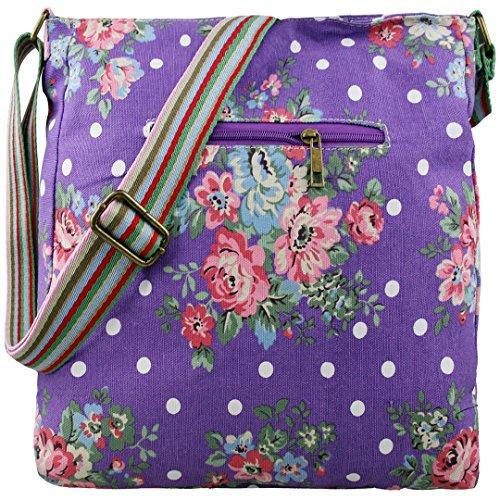 Miss Lulu Damen Leinwand Tasche Schultertasche Cross Body Messenger Bag Tupfendruck Elefant Katzen Eule Blumen Gepunktet Schmetterling Schulranzen Satchel Blumen Lila