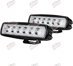 """Autosun 6 Inch 18W 6"""" Flood Led Work Light Bar Black For Off-Road Suv Boat 4Wd Ute Atv Jeep Fog Driving Truck (Set-Of-2)"""