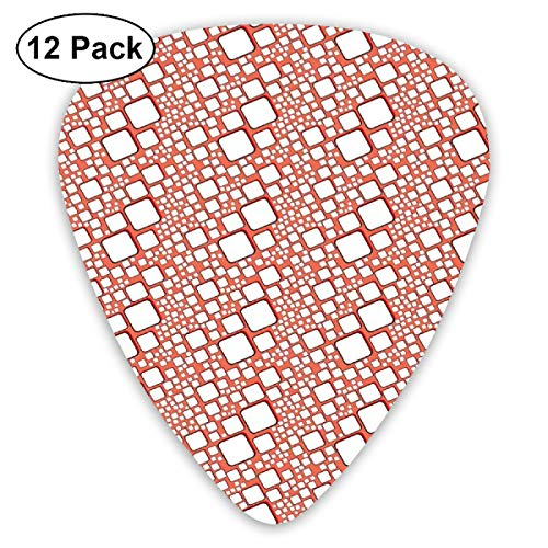 Guitar Picks - Abstract Art Colorful Designs,Ornamental Squares With Oval Corners In Various Shapes Geometric Pattern,Unique Guitar Gift,For Bass Electric & Acoustic Guitars-12 Pack