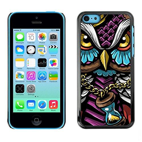 Harte PC Hülle Schutzhülle Handyhülle Hard Protective Case Smartphone Cover for iPhone 5C // Bunte Gangster Owl // (Gangster Für Halloween)