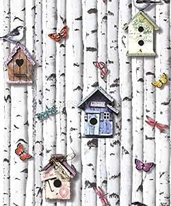 102549 - Boîtes Nouveautés oiseaux Silver Birch arbres Papillons Fond d'écran