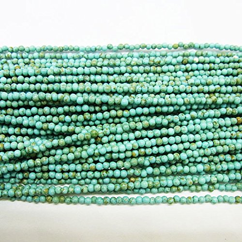 thetastejewelry 2mm redondo turquesa verde Howlita cuentas, 15pulgadas 38cm joyas haciendo collar curación