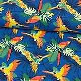 Stoffe Werning Baumwolljersey Bunte Papageien - Preis Gilt