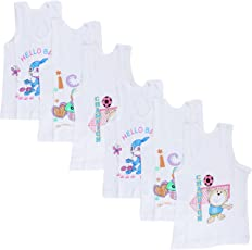 Littly Unisex Printed Cotton Baby Vests, Pack of 6 (White)