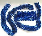 Festgirlande Blau Metallic Kunststoff 3m, D10cm, buschige Mix-Fransengirlande