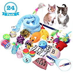 Focuspet Juguete para Gatos, Cat Juguete Interactivo para Gatos para Gatitos Incluye Juguetes para Gatos, Juguetes interactivos, etc. Paquete de Variedad DE 24 Piezas