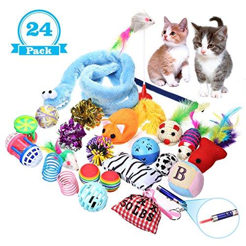 Gatto Giocattolo,Focuspet Gatto Interattivo Giocattolo per Gatti Includere Giocattolo per Gatti Mouse Balls Piume Pesce ecc. Molti Diversi Tipi di Giocattoli per Animali Domestici Confezione da 24 Pezzi