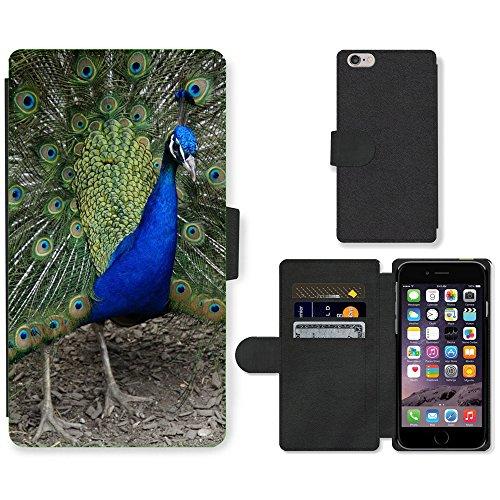 Just Mobile pour Hot Style Téléphone portable étui portefeuille en cuir PU avec fente pour carte//m00140270paon Beat Rad Roue de paon oiseau//Apple iPhone 6Plus 14cm