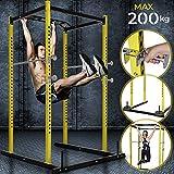 Physionics Cage à Squats | avec Barre de Traction, Support pour Haltères, Charge Max. 200 kg | Power Cage, Station de Musculation, Entraînement, Dips, Fitness