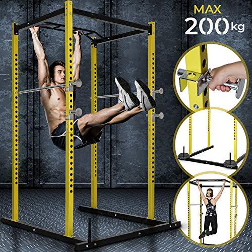 Physionics Power-Cage - Klimmzugstange + Hantelablage, Ganzkörpertraining (Klimmzüge, Langhantel, Kniebeuge, Kreuzheben, Bank- und Schulterdrücken) - Kraftstation, Squat Rack
