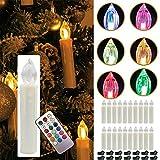 YESDA RGB Flammenlose LED Taper Weiß Christmas Kerzen Licht Kerzen betrieben, mit Fernbedienung, für Weihnachten, Weihnachtsbaum, Hochzeit, Votiv, Hochzeitsdeko, Partys, Geburtstags (50 Stück)