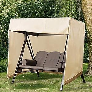Dightyoho Schutzhülle hollywoodschaukel 3 sitzer 220 x 170 x 125 cm wasserdicht Abdeckung für Gartenschaukel aus 210D Polyethylen