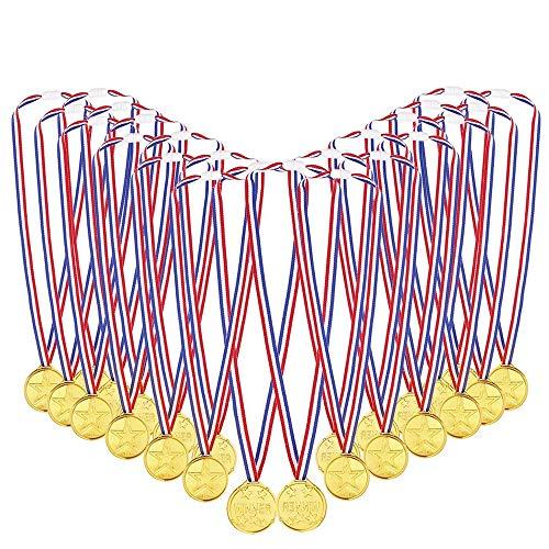 Kinder Gold Kunststoff Golden Awards mit Bändern zum Kindersporttag Party Spiel Spielzeuge Preise Auszeichnungen 48packs ()