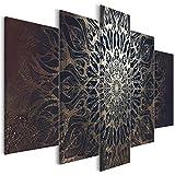 decomonkey Bilder Mandala 100x50 cm 5 Teilig Leinwandbilder Bild auf Leinwand Vlies Wandbild Kunstdruck Wanddeko Wand Wohnzimmer Wanddekoration Deko Modern Abstrakt schwarz Gold