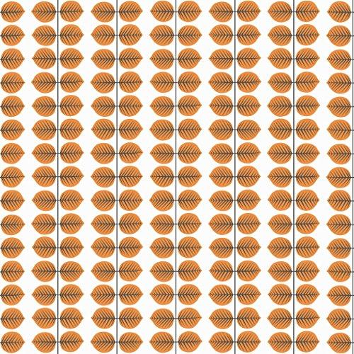 Stig Lindberg 1754 Vliestapete Blattranken formal geometrisch in orange-rot und schwarz auf weiß