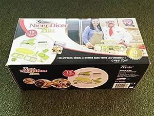 Genius Nicer Dicer Plus Originale Multi-accessoires de découpe pour couper/hacher/trancher/râper avec 1 éplucheur
