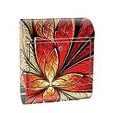 liwwing Briefkasten Edelstahl mit Motiv und Zeitungsfach, Zeitungsrolle als XXL Design Wandbriefkasten | Ornament abstrakt 3D Rot braun Hintergrund | no. 0115