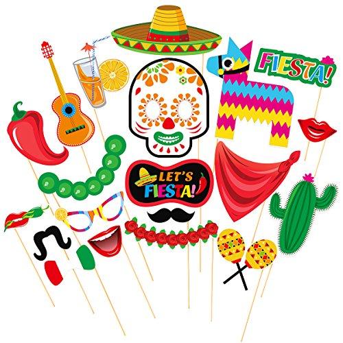 LUOEM Fiestas fotográficas Fiesta mexicanas Kits de accesorios, 20 piezas Fiesta Photo Booth Props Decoraciones para fiestas de verano, cumpleaños, bodas, tropicales y festivales