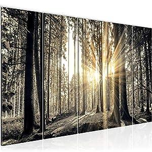 Bilder Wald Landschaft Wandbild Vlies – Leinwand Bild XXL Format Wandbilder Wohnzimmer Wohnung Deko Kunstdrucke Braun 1…