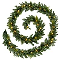 12ft Long Pre-Lit Garland Christmas Decoration Illuminated with 52 Warm White LED Lights
