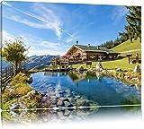Schönes Haus in den Alpen Format: 120x80 auf Leinwand, XXL riesige Bilder fertig gerahmt mit Keilrahmen, Kunstdruck auf Wandbild mit Rahmen, günstiger als Gemälde oder Ölbild, kein Poster oder Plakat