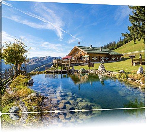 Schönes Haus in den Alpen Format: 100x70 auf Leinwand, XXL riesige Bilder fertig gerahmt mit Keilrahmen, Kunstdruck auf Wandbild mit Rahmen, günstiger als Gemälde oder Ölbild, kein Poster oder Plakat