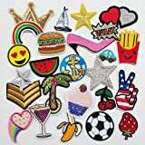 Chenkou Craft 25pcs Random Assorted Iron-on or Sew-on Embroidered Patch Motif Applique Patches