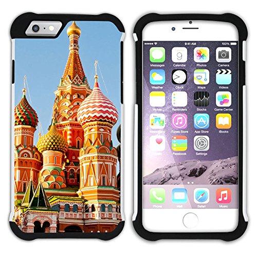 Graphic4You Moscow Russia Kremlin Postkarte Ansichtskarte Design Hart + Weiche Kratzfeste Hülle Case Schale Tasche Schutzhülle für Apple iPhone 6 Plus / 6S Plus Design #1