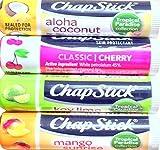 Chapstick Tropical Paradise Collection Mango Sunrise, Key Lime, Aloha Coconut With Chapstick Classic Cherry by Chapstick
