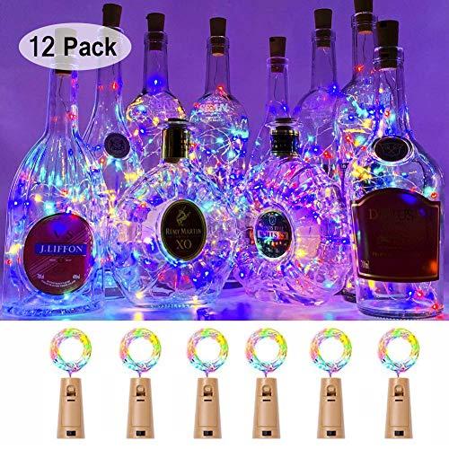 Fcloud Weinflasche Lichter, 15 LED wasserdichte Lichterketten für Hochzeit Weihnachten, Outdoor, Garten, Dekor, 12er Pack, bunt
