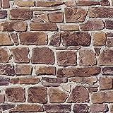 """Rasch 402612 - Carta da parati in rilievo con motivo""""pietra naturale"""", marrone classico"""