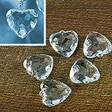 5 Kristall-Anhänger Herz 4,0 x 4,2 cm