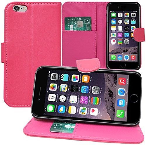 VComp-Shop® PU-Leder Handy Brieftasche mit Kartenfächer und Video-Standfunktion für Apple iPhone 6/ 6s - SCHWARZ PINK