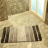 Golden Rule Alfombras de Baño de Secado Rápido Extra Gruesas Colores Mixtos Gris Oscuro y Gris Claro Alfombras de Baño Antideslizantes 50 × 80cm para el Cuarto de Baño Dormitorio Sala de Estar