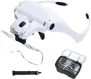 Led Kopfband Lupenbrille Queta Led Kopfband Lupen Lampe Stirnband Brille Lupen Für Lesen Juweliere Und Reparieren 5 Austauschbare Linsen 1 0x 1 5x 2 0x 2 5x 3 5x Weiß Bürobedarf Schreibwaren
