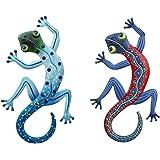 Yardwe Ensemble de 2 Métal Gecko Décoration Murale en Plein Air Lézard Art Suspendu pour Jardin Extérieur Porche Maison Patio