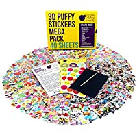 Purple Ladybug Novelty 40 No Repeat Sheets Puffy Childrens Stickers Mega Variety Pack, 950+ 3D Puffy Stickers For Kids, Toddlers, & Children, Including Animals, Smiley Faces, Cars & More!.